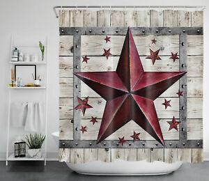 Barn Door Texas Star Vintage Rustic Planks Waterproof Fabric Shower Curtain Set