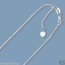 """Up to 22"""" Solid Adjustable Rope Chain Necklace Real 10K White Gold 1.0mm"""