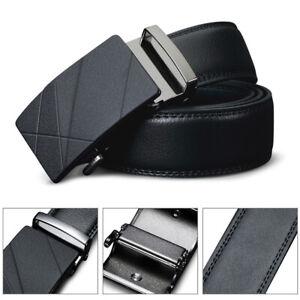 Mens Automatic Buckle Ratchet Belt Adjustable Genuine Leather Waistband Jeans