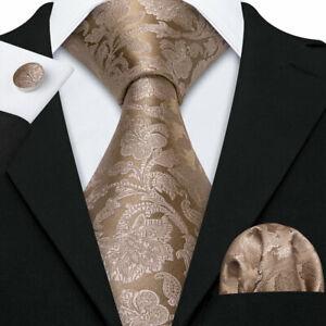 Men Tie Floral Brown EXTRA LONG Lot Set Necktie Silk Woven Neck Tie Formal