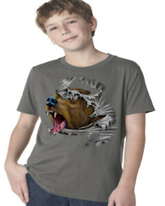 Boys Graphic Tees Grizzly Bear Tearing Through Kids Youth Tee Shirts Gifts