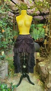 Victorian Goth Burlesque Steampunk High Low 301 mv Black Mesh Tulle Lace Skirt M
