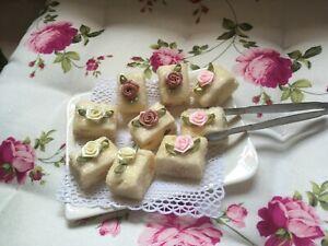 Deko Gebäck Petit four Nougat Glitzerzucker Rose fake Cupcake Landhaus NEU