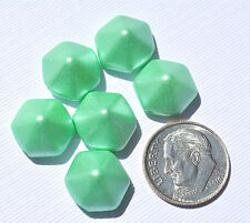 (6) Czech 2-hole Pyramid Hexagon Beads - Pastel Matte Mint Green CPH2271