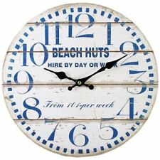 34cm Beach Huts Wall Clock Navy/Cream Nautical Seaside Bathroom Wooden MDF