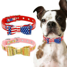 Pet Dog Puppy Bowknot Leather Studded Collar For Small Medium Dogs Jack Russell