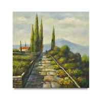 NY Art - Tuscan Hillside Home 33x33 Original Landscape Oil Painting on Canvas