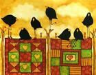 Print - Farmhouse Quilt Crow Blackbird Raven Whimsical Debi Hubbs