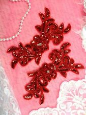 JB259 Sequin Appliques Red MIRROR PAIR Floral Beaded Dance Patch 7""