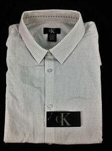 Calvin Klein Men's Shirt White Dotted Stripe. X- Large
