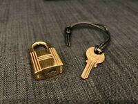 Authentic Hermes Set Of Padlock Key Cadena Gold Tone Padlock Beautiful FedEx [K]