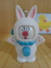 """Easter Bunny ZIPPER PULL 3"""" White Blue Rotating Face Expressions Plastic"""