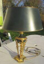Lampe de bureau style  Napoléon 1er  bronze et laiton a patine vert et caducés
