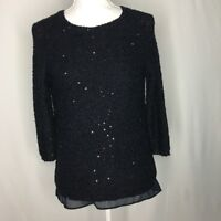 Zara midnight blue knit sequin sweater top 3/4 sleeve size M excellent condition