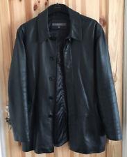 "Men's River Island black Real LeatherJacket Size Medium -Large Coat M-L.chest44"""