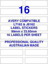 AVERY L7162 & J8162 COMPATIBLE ADDRESS SHIPPING LABELS STICKERS 16 X 100 SHEETS