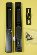 Sliding Glass Door Lock Handle Set Black with Night Lock W/Keeper and Screws.