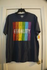 NWT BLUE SHORT SLEEVE EQUALITY & BOLD RAINBOW TEE MENS 2X