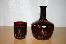Bohemian Dark Red Cut to Clear Glass Tumble Up with Cup & Floral Design
