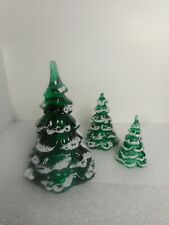 """Rare Fenton/Goebel Mark Lot Of 3 Frosted Christmas Trees 6.5"""" 4.25"""" & 3"""" Mint"""