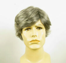 Short Wig For Men Natural Hair Gray White Poly Mesh Ref REMY 44