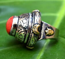 Afghan Kuchi Tower Ring Red Ethnic Tribal Antique Vintage Carved Boho Jewelry
