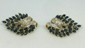 14K Yellow Gold Marquise 9.36cttw Blue Sapphire and 0.14cttw Diamond Earrings