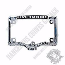 show chrome metal 3d eagle 4 x 7 license plate frame for touring motorcycle