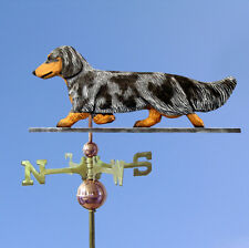 Dachshund Long Hair Hand Carved Hand Painted Basswood Dog Weathervane Blue Da...
