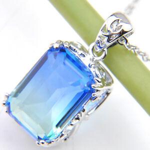 Engagement Jewelry Blue Bi Colored Tourmaline Gem Solid Silver Necklace Pendants