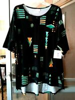 NEW WOMEN'S LULAROE IRMA BLACK WITH GEOMETRIC PRINT STRETCHY TOP PLUS SIZE 2XL