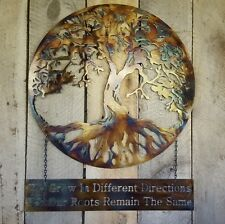 "Tree of life Metal Wall Art Hanging Home Decor Rustic Primitive 18"" with sign"