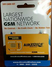 Airvoice Wireless SIM Card PREPAID.USE AT&T NETWORK WORK W/ iphone 2G/3G/3GS