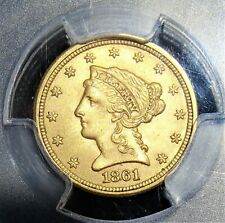 1861 Liberty Gold Quarter Eagle New Reverse PCGS MS-62 CAC