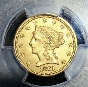 1861 Liberty Gold Quarter Eagle New Reverse PCGS MS-62 CAC.