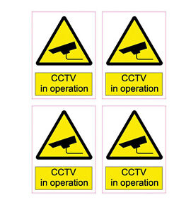 CCTV Stickers Pack of 4 Home Security Surveillance CCTV In Operation Waterproof