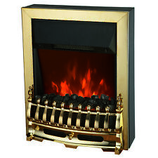 2KW ELECTRIC FIREPLACE INSET INSERT LED FLAME EFFECT PEBBLES GOLD BRASS STOVE