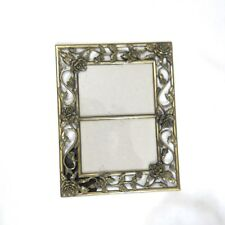 """Victorian Style Rose Brass Frame Double Photo Display 9.25"""""""