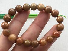 A-grade jade Jadeite elastic bracelet 639 New listing 10mm Certified Brownish yellow natural