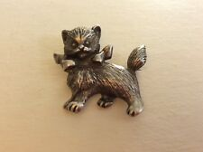 Cat Brooch, marked Vintage Sterling Silver Kitty