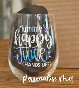 Mummy's Happy Juice Personalised Stemless Wine Glass Wine / Gin Lovers Gift