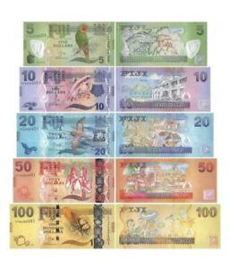 Fiji 5 - 100 Dollars 5 Pcs Banknotes Set 2013 UNC Matching Serial # FFA0002406