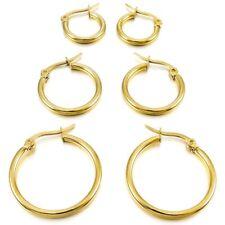 3 Pairs Hoop Hinged Earrings Gold Hoops 15mm 20mm 25mm Stainless Steel Set Woman