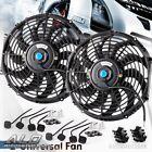 "2X 12"" inch Fit for Universal Slim Fan Push Pull Electric Radiator 12V Mount Kit"