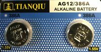 AG12 LR43 Tianqiu 386 LR1142 1.5V Alkaline Battery Watch Remote US Free shipping