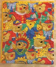 Vintage Teddy Bear Baby Blanket Quilt Handmade Indians Clowns Jesters Sheriff
