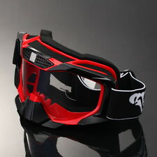 Retro Glasses Motorcycle Motocross MX Racing Dirt Bike Scooter Goggles Red Frame