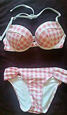 Aerie emma bikini bathing suit pink white plaid padded push up 34 c Small bottom