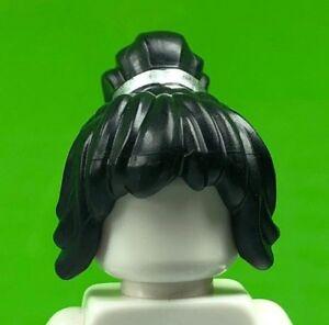 LEGO Black Female Minifigure Hair Ponytail Long Bangs Silver Band (x1) Nya Hair