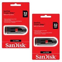 SanDisk Cruzer Glide 32GB x2=  64GB  Flash Drive USB 3.0 Thumb Memory Pen Lot2